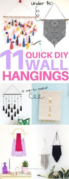 Marvelous Cheap & easy DIY wall hangings you must see! diy home decor, diy wall art, diy apartment decor, 5 minute diy projects, boho decor The post Cheap & easy DIY wall hang ..