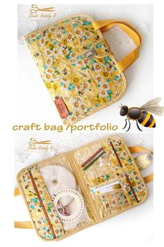 Use this project bag to store your crafting project as you work on it! Project bag with handles and closed a flap with clasp tuck. Sewing Case, Sewing Box, Sewing Notions, Sewing Kits, Patchwork Bags, Quilted Bag, Small Sewing Projects, Sewing Crafts, Bag Patterns To Sew