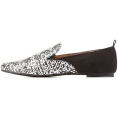 Charlotte Russe Black/White Qupid Printed Pointed Toe Smoking Loafers... ($8.49) ❤ liked on Polyvore featuring shoes, loafers, pointed toe shoes, slipon shoes, loafer shoes, rubber sole shoes and embellished shoes