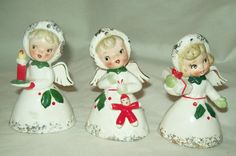 VERY RARE~SET OF 3 VINTAGE NAPCO CHRISTMAS ANGLE BELL ORNAMENTS ~# ILX3817~CUTE | eBay