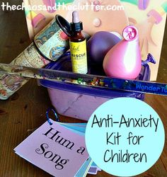 """So many of the """"sensory"""" kiddos that I get asked to see look more like """"anxious"""" kids-this is a great bridge tool for them. How to Create an Anti-Anxiety Kit for Your Child including free printable relaxation prompts Therapy Tools, Play Therapy, Therapy Ideas, Trauma Therapy, Coping Skills, Social Skills, Therapy Activities, Activities For Kids, Counselling Activities"""
