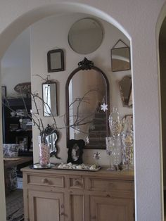 antique mirror collection.... Most mirrors I found at markets in England and Southern France.