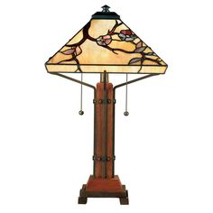 "Quoizel Grove Park Tiffany 23.5"" H Table Lamp with Empire Shade"