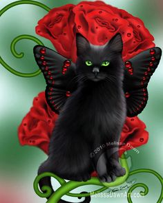 Black Cat Art Print // Red Roses //  Garnet Cat - 8x10. $12.00, via Etsy.