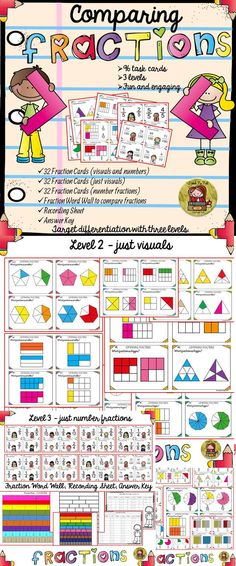 Use these 96 task cards to help your students identify and compare fractions. Moreover you will be able to target differentiation and cater to three different ability levels. https://www.teacherspayteachers.com/Product/FRACTIONS-COMPARING-FRACTIONS-DIFFERENTIATED-TASK-CARDS-2067640