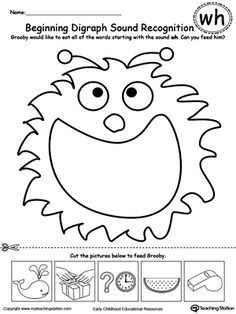 Beginning Digraph Sound Recognition WH: Practice recognizing consonant digraph WH with My Teaching Station printable Beginning Digraph Sound Recognition worksheet.