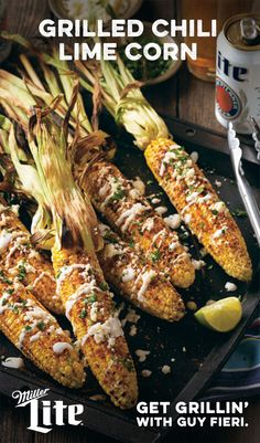 Score big with your grill. This season Guy Fieri and Miller Lite® are bringing you the best-tasting game-day recipes your mouth can handle. Like Grilled Chili Lime Corn. This tailgate original is a sure fire winner with its spice and citrus combination. Mexican Food Recipes, Great Recipes, Vegetarian Recipes, Favorite Recipes, Healthy Recipes, I Love Food, Good Food, Yummy Food, Tasty