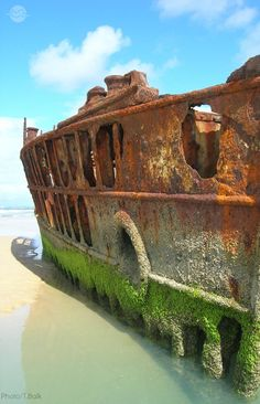"Fraser Island, an Island in Queensland, Australia. ""The Maheno Shipwreck Fraser Island. (Photo by Timo Balk) Abandoned Ships, Abandoned Buildings, Abandoned Places, Pompe A Essence, Fraser Island, Old Boats, Ansel Adams, Shipwreck, Under The Sea"