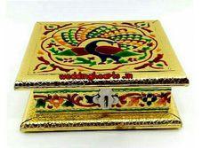 Meenakari dry fruit box Peacock model.Code: WHD 004.Best for return gifts.MOQ 25.Price 175 Each.