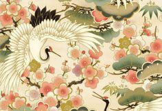 Quilt Gate Fabric Hyakka Ryoran White Crane Cream Asian Japanese Cherry Blossoms Quilting Craft Sewing