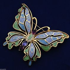 Bob Mackie Collection Signed Colorful Enamel Crystal Butterfly Pin Brooch NIB #BobMackie #PinBrooch