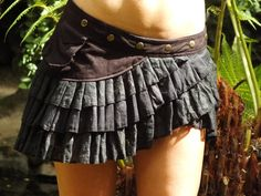 Lily Layer Skirt (Black) - Handmade Gypsy Goa Festival Fairy Elf Mini Midi Layered Lace, Cotton and Boho Hippie Wrap Skirt with Pocket