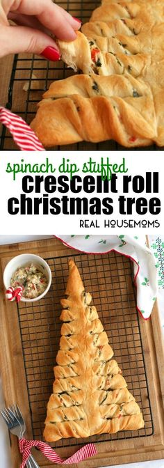 This Spinach Dip Stuffed Crescent Roll Christmas Tree is s fun way to serve up your favorite cheesy spinach dip round the holidays! via @realhousemoms