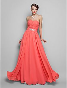 TS Couture Prom Formal Evening Military Ball Dress - Open Back A-line Princess Strapless Sweetheart Floor-length Chiffon withBeading – USD $ 225.00