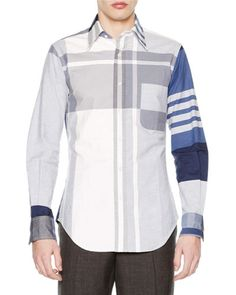 N3UPB Thom Browne Oversized-Plaid Long-Sleeve Oxford Shirt, Blue