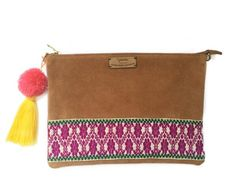 Pink - Brown Otomi Clutch & Crossbody Bag - Azucar Maria - 1 Handmade Products, Pure Products, Pink Brown, Spring Summer 2016, Crossbody Bag, Bohemian, Group, Cyber, Board
