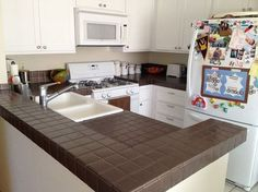 This counter top makeover is budget friendly and easy to do!