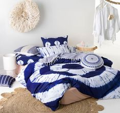 Unleash your inner Bohemiam with this tie-dyed design in stunning royal blue. Caribbean's quilt cover and pillowcases are individually tie-dyed by Pakistani artisans. Shop the Caribbean Royal Quilt Cover Set online now at Linen House Singapore.