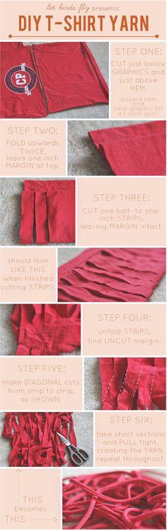 Transformer un vieux t shirt en laine a tricoter pour en refaire autre chose. Juste génial!