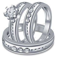 1.75 Ct. Round Cut Diamond 14K White Gold Plated 925 Silver Unisex Trio Ring Set #giftjewelry22