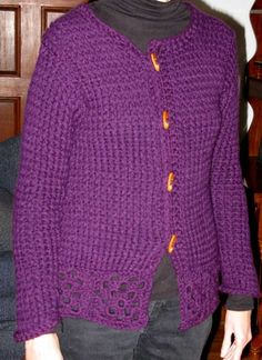 KniftyKnitterPurpleSweaterFront. Excellent info on how to make panels, measuring for  them and shaping them on the loom and then stitch them together for a cardigan.