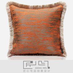 匠心宅品新古典法式样板房软装靠包抱枕橘色肌理流苏方枕(不含芯