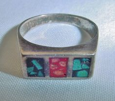 POWERFUL Big STERLING SILVER Ring SIGNED Inlaid CORAL TURQUOISE Size 9 1/3 HEAVY