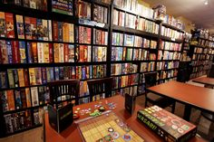 Snakes and Lattes- a Canadian cafe designed for playing board games with your friends!  www.snakesandlattes.com