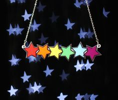 Rainbow Stars Necklace, Silver Plated Chain £12.00