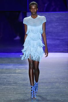Naeem Khan Spring 2017 Ready-to-Wear: Another beautiful electric blue fringe cap sleeve dress! Lovely movement of the fringe!                                                                                                                                                                                 More