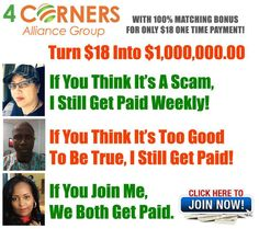 Everyone should be promoting this page... REALLY! >>> http://masteralliancegroup.com/four-corners-alliance.html  Those of you who decide to join us will be at the top of this baby so get in now! It's ONLY $36 bucks...and all you do is 'Pay It Forward' for 2 friends or family members (who don't live at home). Let's do this already!