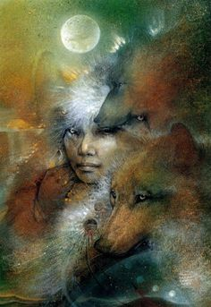 She's bone woman, the gatherer, La Loba. She collects bones, especially those of. She's bone woman Spirit Art, Wolf Spirit, Native Art, Native American Art, American Women, Art Visionnaire, Animal Spirit Guides, Illustration, Animal Totems
