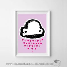 Adorable Little Cloud in Pink Background. Size A2 Digital Download 8.68€. Printable artwork is a beautiful, quick and cost effective way of updating your art. Available on Etsy. ❤️❤️