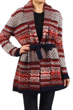Red Crochet Knit Cardigan