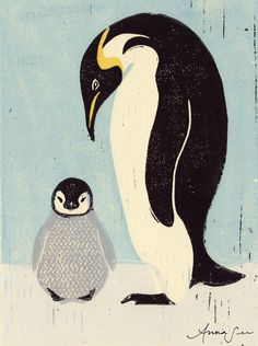 This image is part of an ongoing series exploring the relationship between a mother and its young, this print is of a mother penguin and her baby.