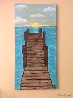 "Wood Pier Sunrise Landscape Acrylic Painting 10""x 20"" canvas Art nautical ocean beach lake sea Sunset FREE SHIPPING Home Decor blue brown by CanvasCoveArt on Etsy"