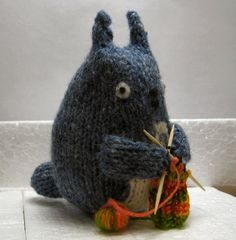 knitted knitting totoro monster. (I'm not really sure what this is, just know I saw a ton of these guys last time I went to the Japanese bookstore.)