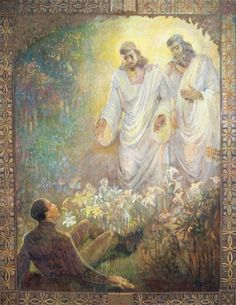 God the Father and His son Jesus Christ first vision of the boy Prophet Joseph Smith - Minerva Teichert Joseph Smith, Minerva Teichert, Vision Art, Lds Art, Religious Art, Religious Paintings, Spiritual Paintings, Religious Studies, Art Institute Of Chicago