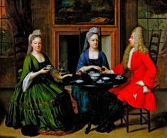 Two ladies and an officer seated at tea (Oil painting), ca. Oil painting, Two ladies and an officer seated at tea, English school, Museum Number Tee Kunst, Baroque Painting, Two Ladies, E Mc2, Tea Art, Dutch Artists, Art Uk, Victoria And Albert Museum, Portrait Art