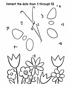 Dot-to-Dot Activity Page | Butterfly and flowers
