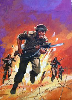 "This is the original painting used for the cover of War Picture Library #34 ""Fix Bayonets"" published January 1960 by Fleetway Publications. This is the original Gouache painting by Nino Caroselli."