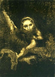 Odilon Redon - Caliban on a branch. 1881, charcoal and chalk on paper,49.9 x 36.7 cm. Musée d'Orsay, Paris, France.