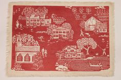 Vintage block print Folly Cove Design fabric by SarahElizabethShop