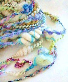 Mullti Color Rapunzel's Twist (A Premium Quality Hand Spun Art Yarn) by Storybook Fibers Spinning Yarn, Hand Spinning, Weaving Patterns, Crochet Toys Patterns, Textiles, Fibre And Fabric, Crochet Instructions, Yarn Crafts, Art Yarn