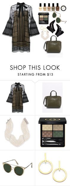 """Untitled #4"" by whoisashleigh ❤ liked on Polyvore featuring Carolina Herrera, Assael, Gucci, Quay, Vita Fede and Lauren B. Beauty"