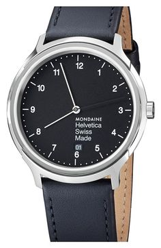 Mondaine 'Helvetica No.1 Regular' Round Leather Strap Watch