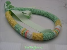 Spring Crochet Tube Necklace Satin Ribbon soft by BeeDifferent1, $25.00