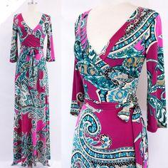 MAGENTA PINK/TEAL Paisley MAXI DRESS Jersey Faux Wrap LONG Skirt vtg BOHO S-M-L #tamarstreasures #WrapDress #CocktailEvening