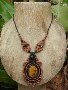 Macrame Necklace Pendant Tiger Eye Stone Gemstone Handmade Handcrafted