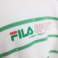 401a562a8f291 Vintage 90s Spellout Big Logo Stripe Fila Crewneck Sweatshirt